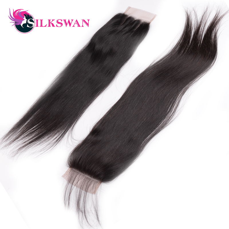 Image 4 - Silkswan Brazilian Straight Middle Ratio Remy HairNatural Color 10 20'' 28 Inch Lace Closure  Middle/Free Part  Free Shipping-in Closures from Hair Extensions & Wigs