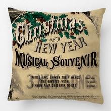 Vintage Navidad teatro Musical cartel cojín decorativo de boda funda de almohada personalizar regalo para sofá asiento funda de almohada