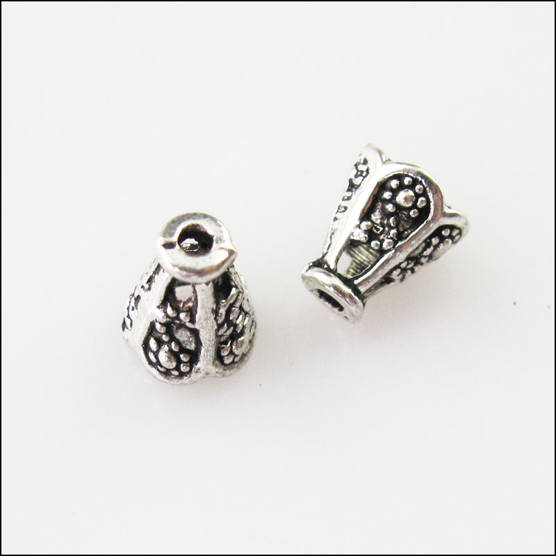 Beads Jewelry & Accessories Fashion 4pcs Tibetan Silver Tone Cone Flower End Bead Caps Connectors 15.5mm