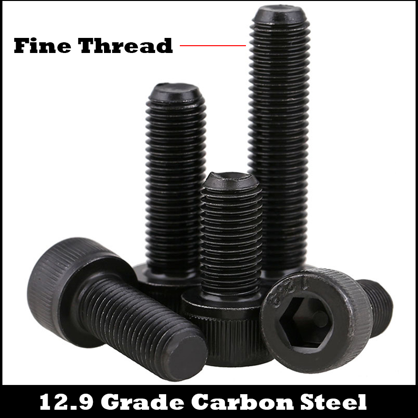 M10 M10*1.25*30/35 M10x1.25x30/35 1.25mm Pitch 12.9 Grade Carbon Steel Full Fine Thread Cap Allen Head Bolt Hexagon Socket Screw