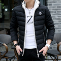 2016 New Collection Men's Casual Padded Jacket Hooded Thin Cotton Padding Coat Detachable Hood