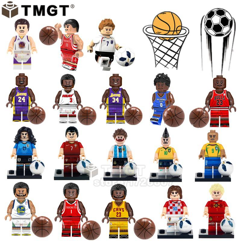 50Pcs Lot Wholesale Basketball Soccer Player Messi Beckham Ronaldo James Kobe Building Blocks Toys For Children