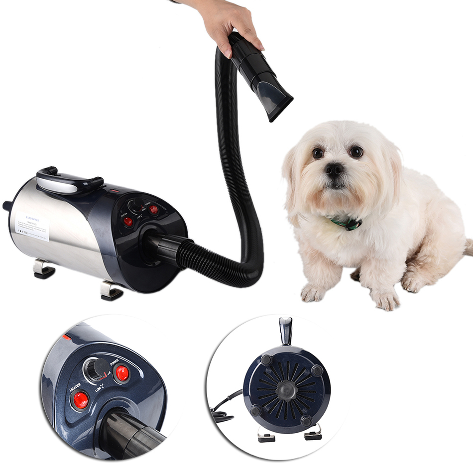 EU/US/UK Plug Dog Cat Pet Force Dryer With Heater Quiet Hair Dryer With Nozzle Grooming Pet Dryer Villus Moisture Debris Cleaner pet dryer cat dog hair dryer anion 2800w 110 v 220 v variable speed puppy kitten hair dryer grooming tools eu au us uk plug