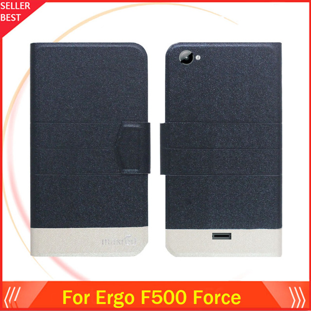 """5 Colors Hot!! Ergo F500 Force 5"""" Case Ultra-thin Flip Fashion Leather Exclusive Phone Cover Card Slots Free Shipping"""