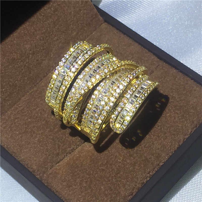 หรูหราแหวนทองคำขาวแหวนหมั้นแหวน T AAAAA zircon คริสตัล 925 เงิน Bijoux ของขวัญ