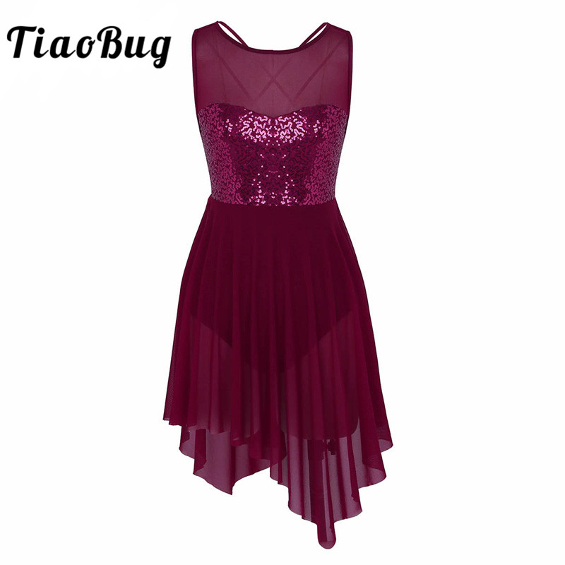 TiaoBug New Women Sleeveless Sequin Asymmetric Mesh Ballet Dance Leotard Dress Adult Gymnastics Leotard Ballerina Dance Bodysuit