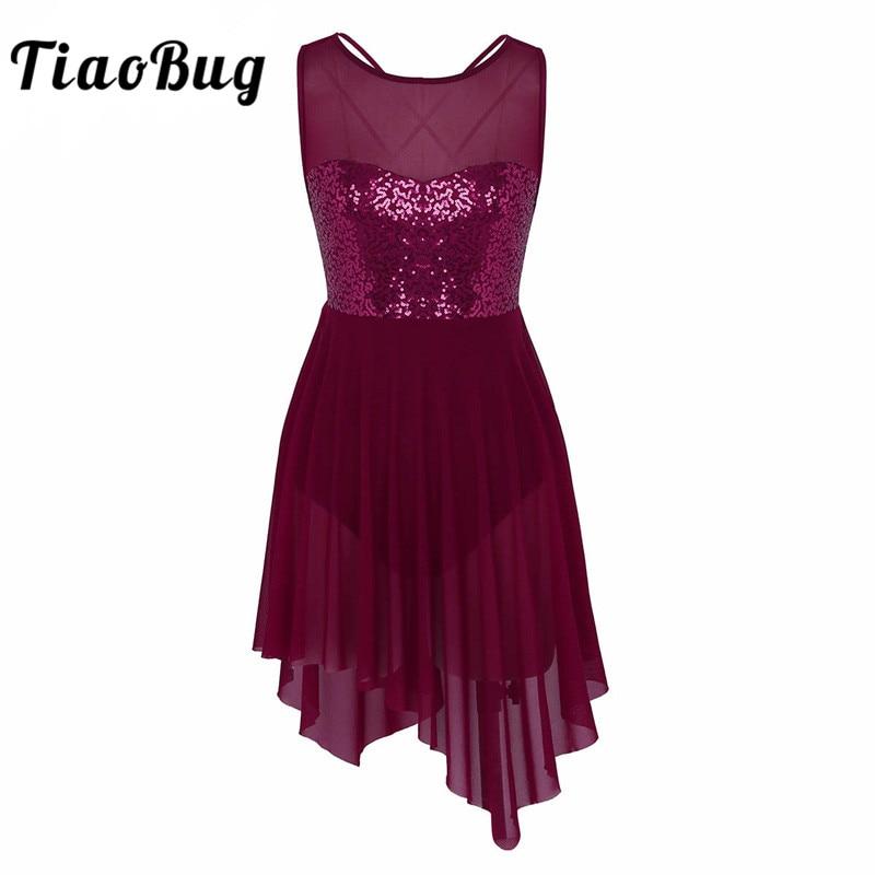 TiaoBug New Women Sleeveless Sequin Asymmetric Mesh Ballet Dance Leotard Dress Adult Gymnastics Leotard Ballerina Dance Bodysuit