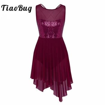 TiaoBug New Women Sleeveless Sequin Asymmetric Mesh Ballet Dance Leotard Dress Adult Gymnastics Ballerina Bodysuit - discount item  27% OFF Stage & Dance Wear