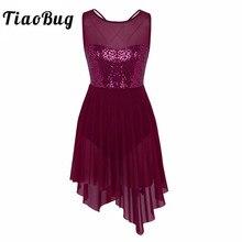 Tiaobug 새로운 여성 민소매 스팽글 비대칭 메쉬 발레 댄스 레오타드 드레스 성인 체조 레오타드 발레리나 댄스 바디 수트