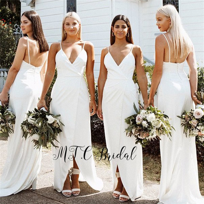 Newest 2019 White Long   Bridesmaid     Dresses   Spaghetti Strap High Slit Elastic Satin Cheap Wedding Party   Dress   High Quality