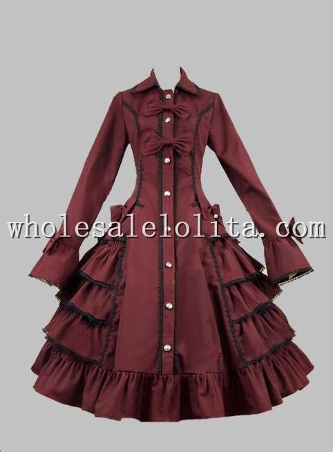 Robe gothique victorienne Lolita Steampunk en coton à volants robe Lolita canal a-ligne 4XL à vendre robes de fête du thé