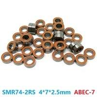 6pcs or 10pcs SMR74 2RS SMR74 RS 4x7x2.5 mm ABEC7 Stainless Steel hybrid Si3n4 ceramic bearing fishing reel bearings 4*7*2.5