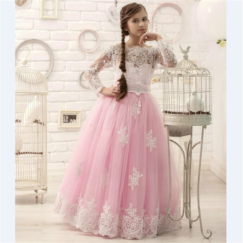 2019 New Long Sleeves Girls Dresses for Wedding Party Lace Applique Pink Tulle Princess Birthday Dress Christmas Pageant Gown pink lace up design cold shoulder long sleeves hoodie dress