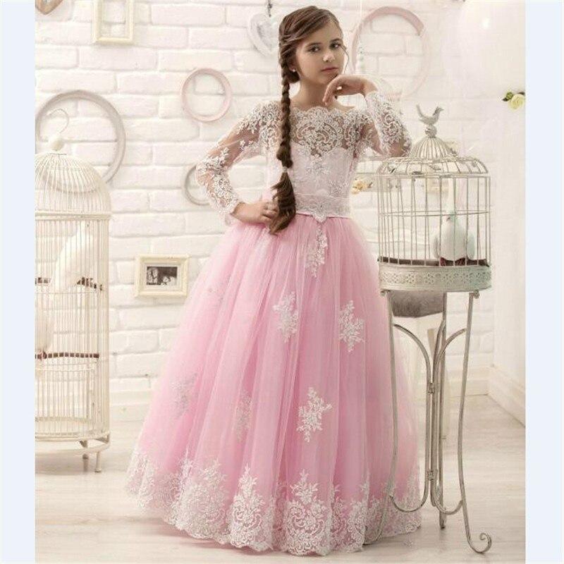 2019 nouvelles manches longues filles robes pour la fête de mariage dentelle Applique rose Tulle princesse robe d'anniversaire robe de reconstitution historique de noël