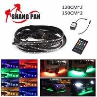 4PCS 12V 2x 120cm 2x150cm RGB 8 Colors LED Auto Car Chassis Lights Chassis Lights Bar