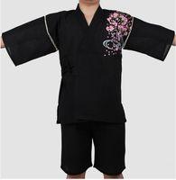 Yukata Kimono Suit Men Traditional Pajamas set Japanese Style Bathrobe Traditional Short Sleeve Fish Patterned Pajamas G032802