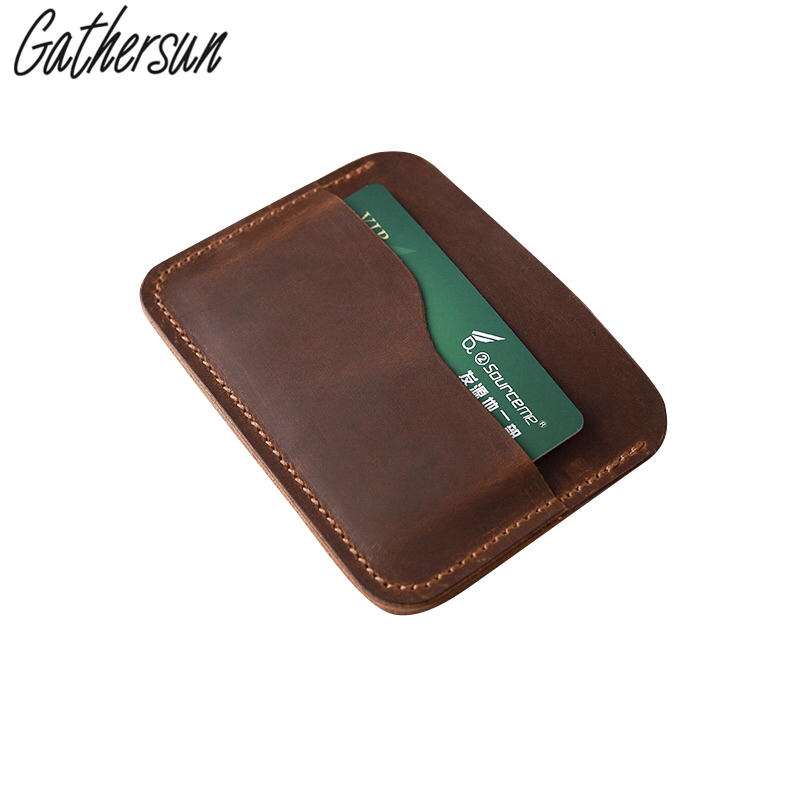 High Quality Gathersun Brand Retro Genuine Leather Credit Card Holder Cowhide Slim Men s Mini Wallet