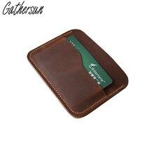Высокое качество gathersun бренд ретро Пояса из натуральной кожи держатель кредитной карты Теплые Тонкий Для мужчин мини кошелек кожаный