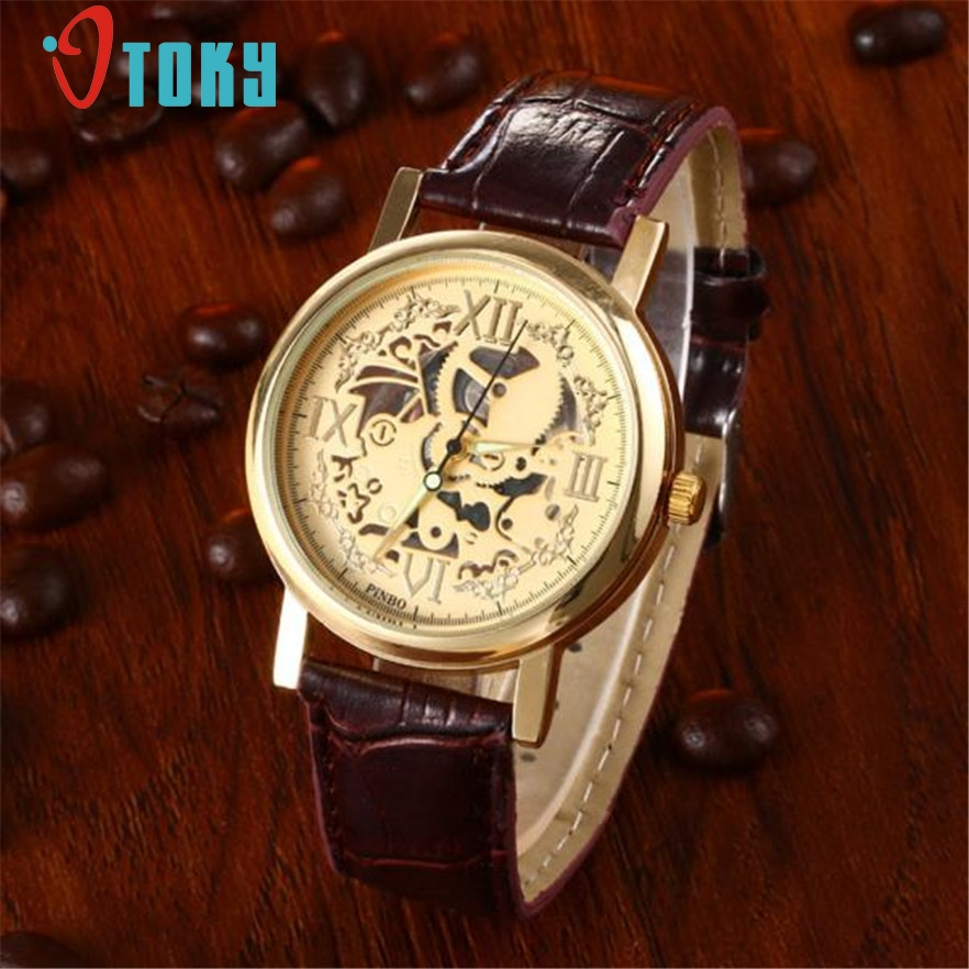 OTOKY Fashion Skeleton wristwatch Man Quartz watches Faux Leather Relogio Masculino Luxury Casual Wrist Watch for men Gift 1pc