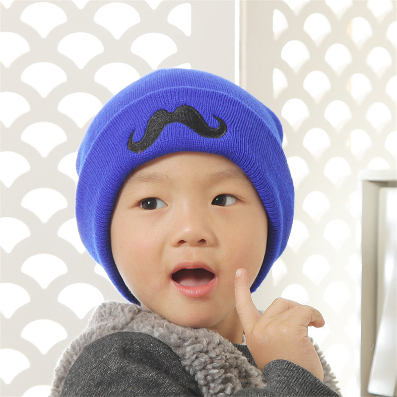 Cute Candy Color beard Cotton Baby Boy Girl Hats Letter Boy Beanie Cap Ski  Hats Knitted Woolen Skull Hats Caps Accessories-in Hats   Caps from Mother    Kids ... c893a979698a