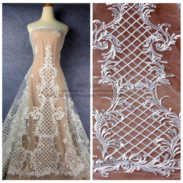 839dd7897bc La Belleza 1 yard Fashion wedding gown lace fabric off white rayon clear  sequins on net embroidery large pattern 51   width