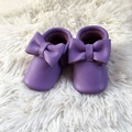 Purple Baby First Walkers, Handmade Bow Moccasins, Purple Genuine Leather Baby Shoes