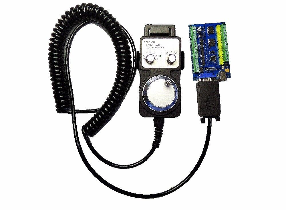 MACH3 USB 5 Axes 100 KHz USBCNC Lisse Pas À Pas Contrôleur De Mouvement carte carte de dérivation + 1 pièces de Haute Qualité industrielle de roue de main