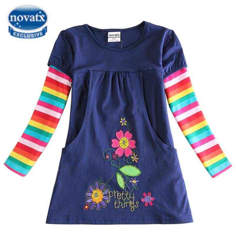 girl dress girls clothes nova kids clothing printed cartoon fashion long sleeve casual dress for girls in spring/autumn F4516