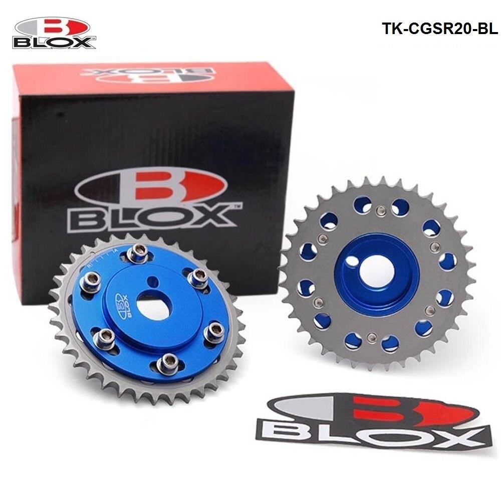 Blox Bleu Réglable Cam Gears Pignon de distribution poulie kit 2 Pcs Pour Nissian S14 SR20DE/T D'échappement Moteur TK-CGSR20-BL