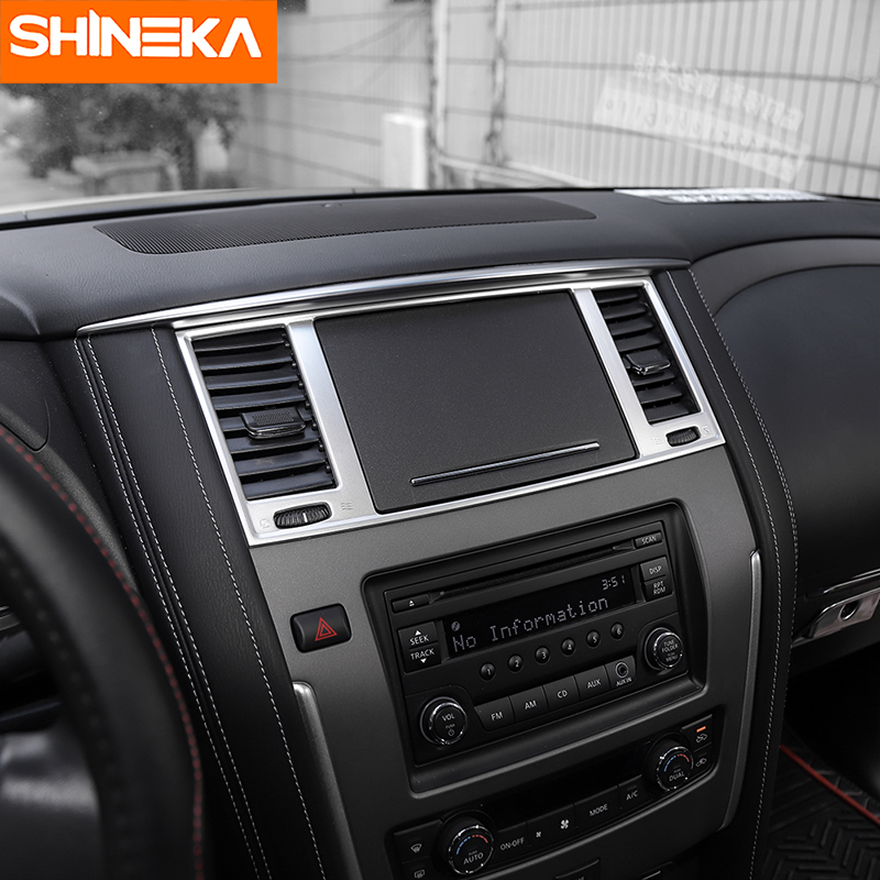 SHINEKA Car Styling Dashboard Panel AC Air Condition Vent Outlet Cover Trim Frame for Nissan Patrol Y62 2017 Car Accessories-in Interior Mouldings from Automobiles & Motorcycles    3