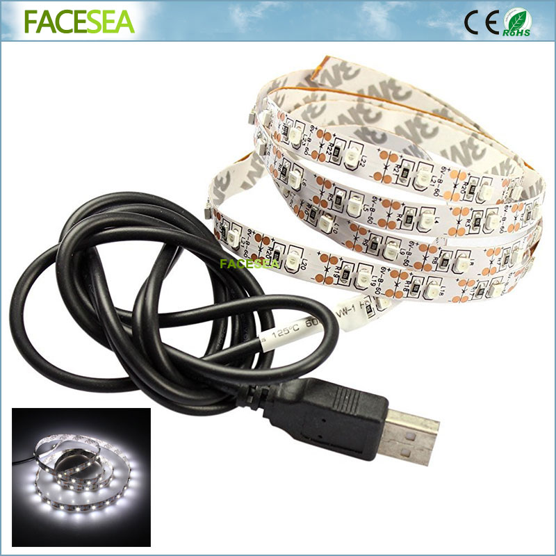 USB LED Strips DC5V 3528 SMD Non Waterproof 50CM/1M/2M 60pcs/m Flexible Ribbon tape lamp TV backlight