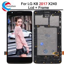 5.0 For LG K8 2017 X240 LCD Display Touch Screen Digitizer with Bezel Frame Full Assembly For LG X240 LCD