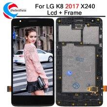 5.0 עבור LG K8 2017 X240 LCD תצוגת מסך מגע Digitizer עם מסגרת לוח מלא עצרת עבור LG X240 LCD