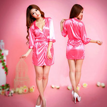 Pink Robes Bridal Party Stain Silk Robes Femme Sexy Porn Bathrobes Kimono Bridesmaid Bath Robe Lingerie Autumn Black Sleepwear(China)