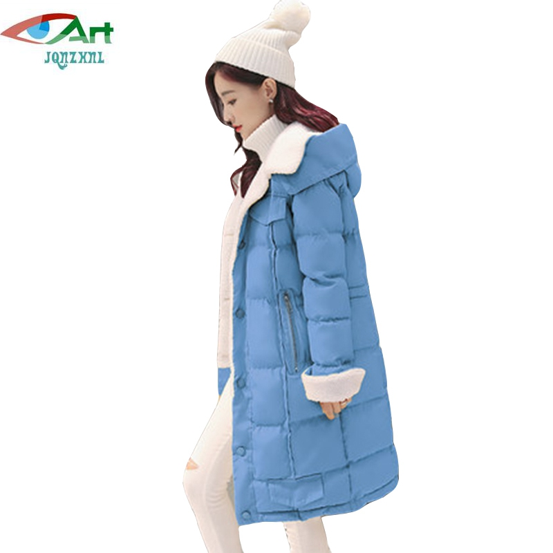 JQNZHNL 2017 New Winter Down Cotton Coats Women Medium Long Thicken Cotton Coat Parkas Single Breasted Hooded Cotton Jacket E647 fashion winter hooded jacket warm lady coats new parkas women loose thicken down cotton overcoats medium long jacket student
