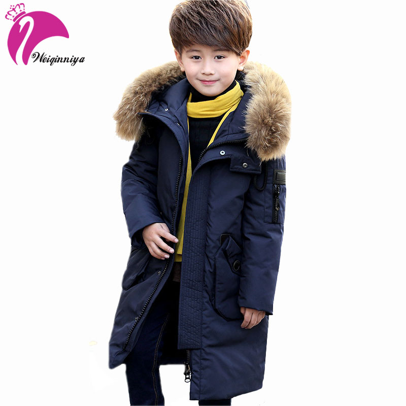 Children Boys White Duck Down Coat New Brand 2017 Fashion Fur Hooded Thick Parka Warm Kids Clothes Casual Long Jacket Outwears kindstraum 2017 super warm winter boys down coat hooded fur collar kids brand casual jacket duck down children outwear mc855
