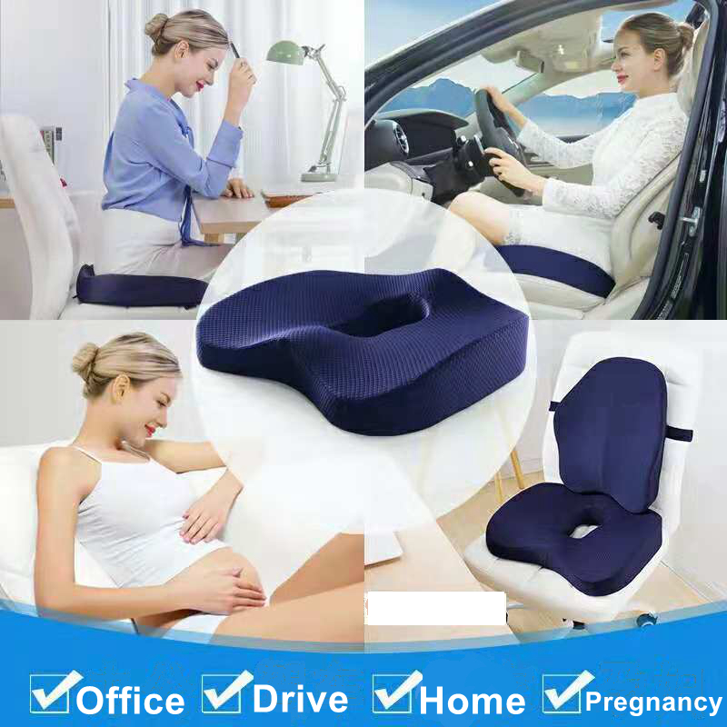 Memory Foam Orthopedic Seat Cushion Travel Ease For Lower Back, Cervical, Coccyx Pain And Headaches, Pregnancy, Arthritis Relief Fit For Car Seat, Office Chair, Wheelchair