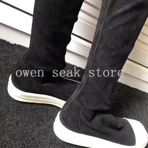 Image 5 - Owen Seak Botas deportivas de piel de oveja hasta la rodilla para hombre, botas de invierno informales, bailarinas para nieve, color negro, talla grande