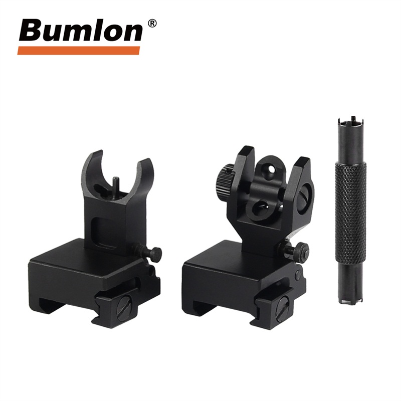 AR Tactical Flip Up Aluminum Alloy Front And Rear Iron Sight For Picatinny Rail With Adjustment Tool RL27-0010