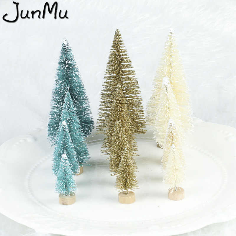 15pcs DIY Christmas Tree Small Pine Tree Mini Trees 4.5cm Placed In The Desktop Home Decor Christmas Decoration Kids Gifts