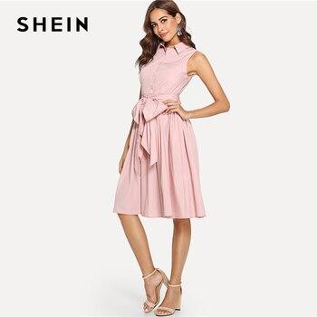 SHEIN Summer Pink High Waist Pocket Dress 1