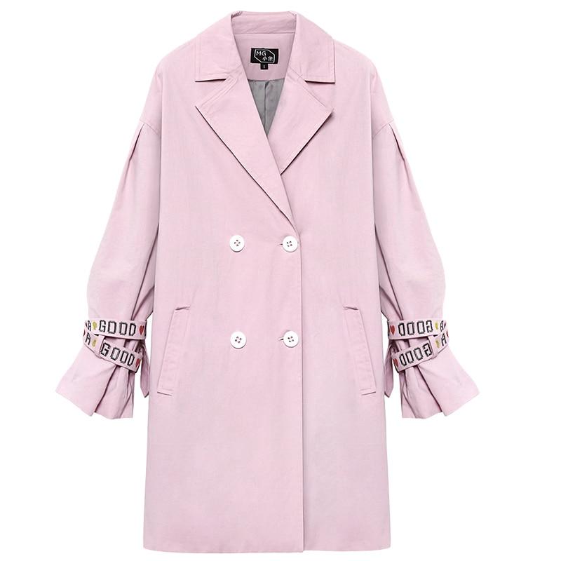 Nouveau Coupe Lâche Style Dame vent Grande Paragraphe 2019 Femme Usure Automne En Printemps Taille Femmes Pink Manteau Long Survêtement Abrigos 45A3qRjL