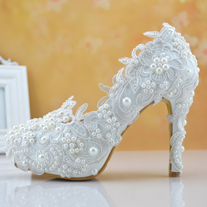 LuxEcho Wedding Store white color lace and pearl women wedding shoes lace high-heeled shoes bridal pearl shoes red color shoes