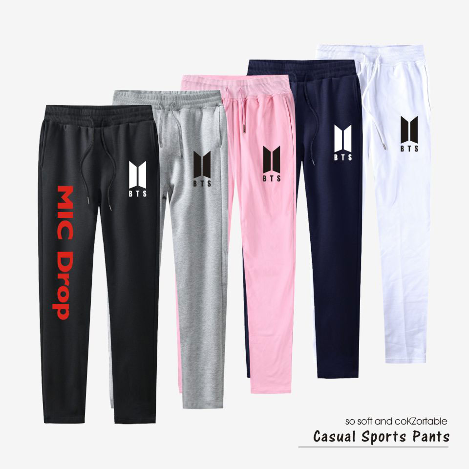 BTS Kpop 100% Cotton Pants Trousers Casual Pants MIC Drop Sweatpants Jogger Slim K-pop Top Quality Women/Men Clothes Plus Size