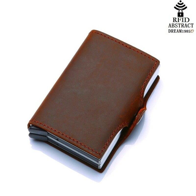 2019 RFID portefeuille vintage hommes en cuir véritable moraillon affaires porte-carte en Aluminium automatique de luxe femme Double couche sac à main classique - 3
