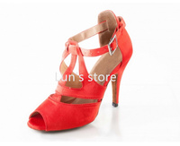 New Sexy Hot Red Satin Ballroom Dance Shoes Latin Dance Shoes Salsa Dancing Shoes Bachata Dance