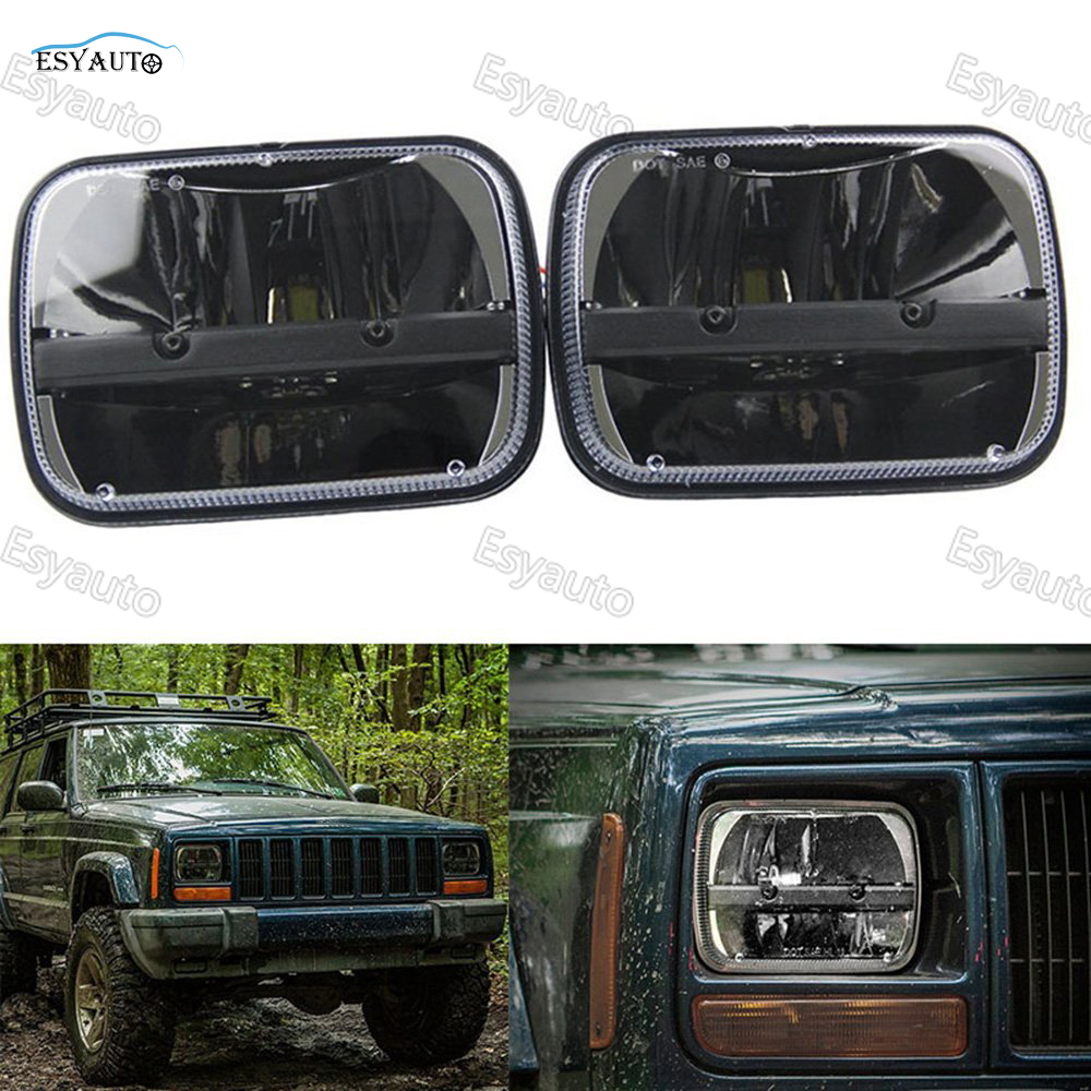 (2 pcs) Square 5x 7 Inch Daymaker headlight led 6X7 truck lights High/Low Beam Headlamp Offroad for Jeep Wrangler YJ