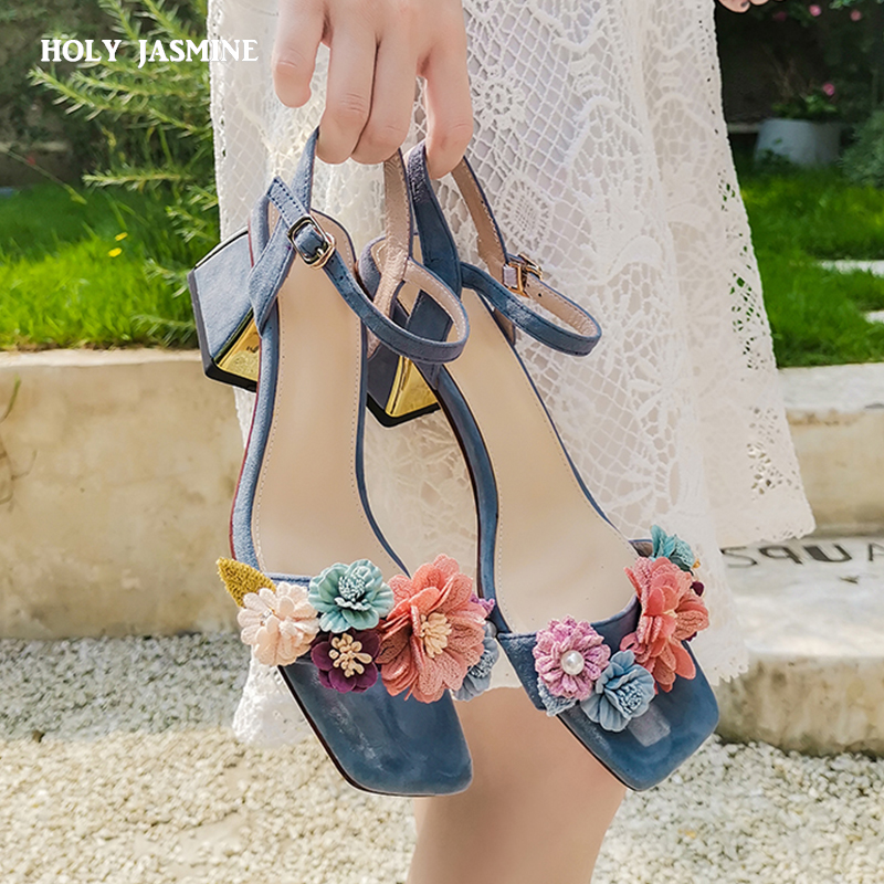 2019 Summer Genuine Leather High Heels Flower Sandals Woman Ankle Strap Sandals Office Daily Shoes Woman