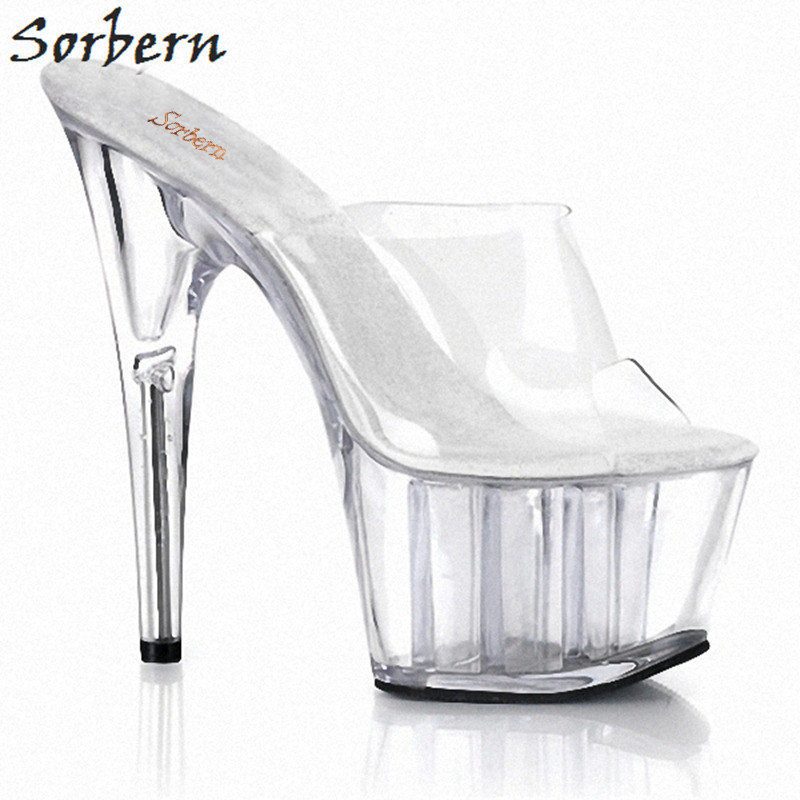 Sorbern Transparent Pvc Women Slippers Platform Shoes Custom Colors 2018 New Slippers Ladies 15Cm High Heels Summer Slippers 2017 han edition of the new fashion women s shoes big yards high heels crystal cool slippers 15cm