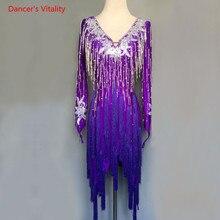 シニア刺繍タッセルドレス大人子供ラテン社交ダンスの衣装/女の子ラテンダンスステージパフォーマンス服